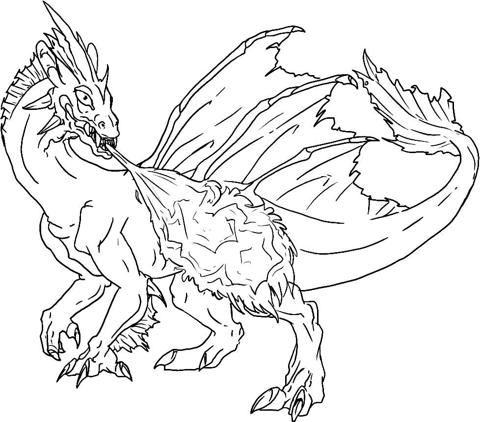 Раскраска картинка драконов
