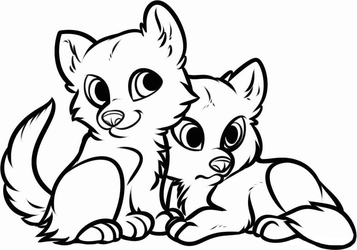 Картинки для срисовки котенка и щенка